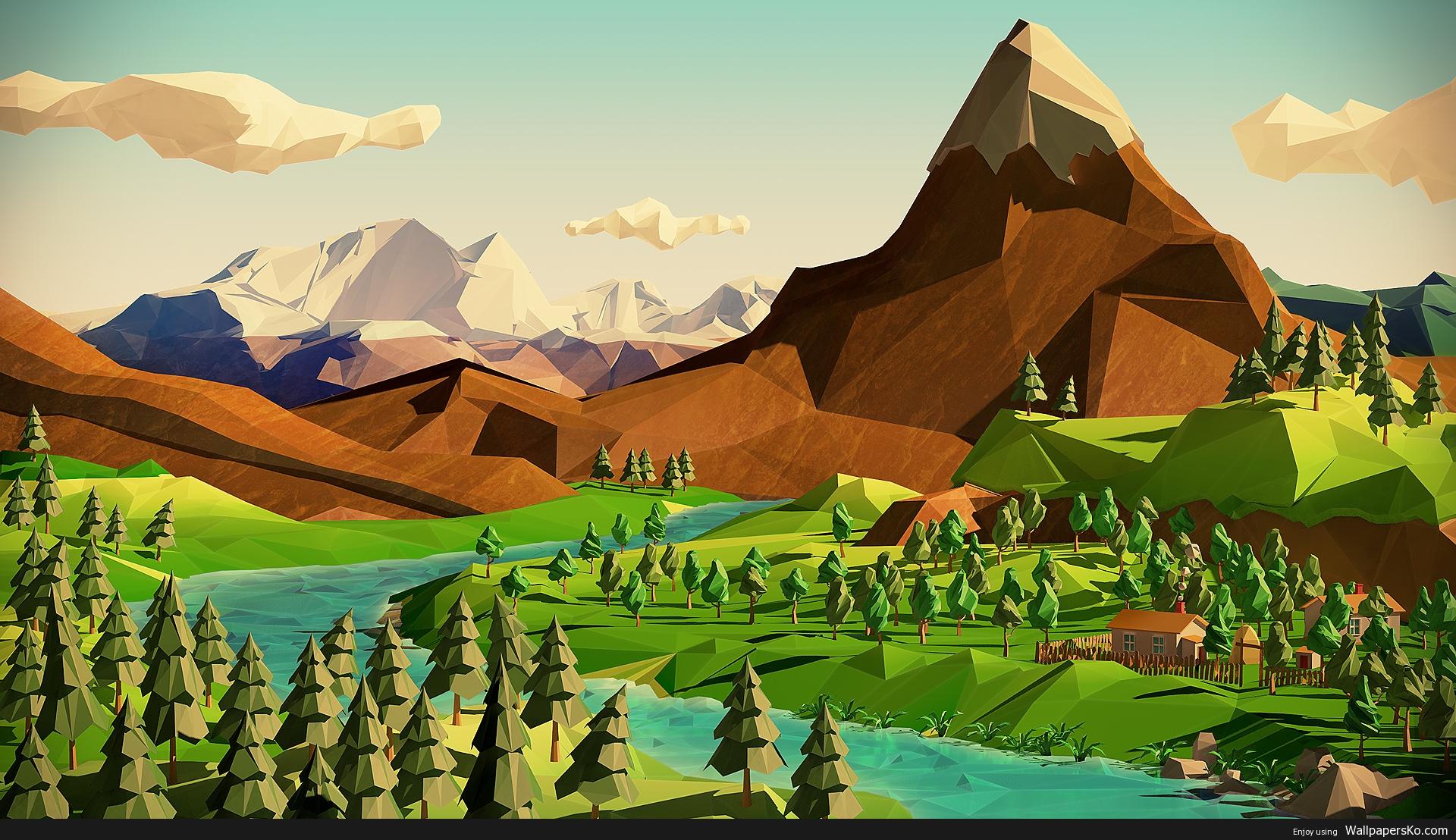 polygon landscape wallpaper