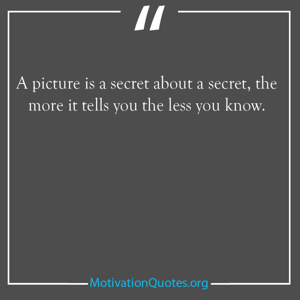 A picture is a secret about a secret the more it