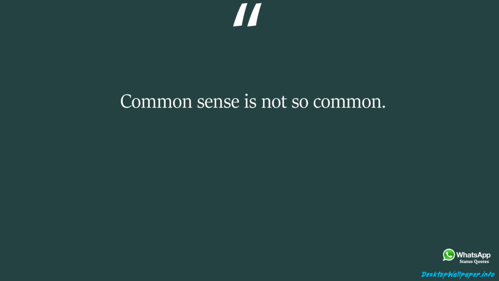 Common sense is not so common