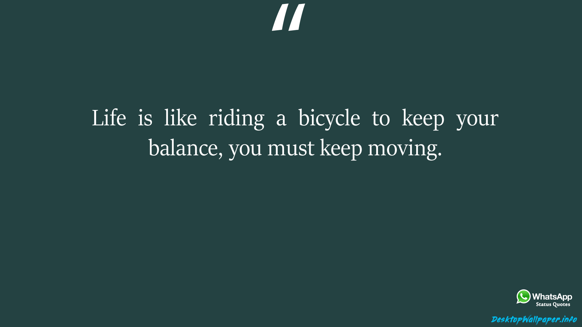 Life is like riding a bicycle to keep your balance you
