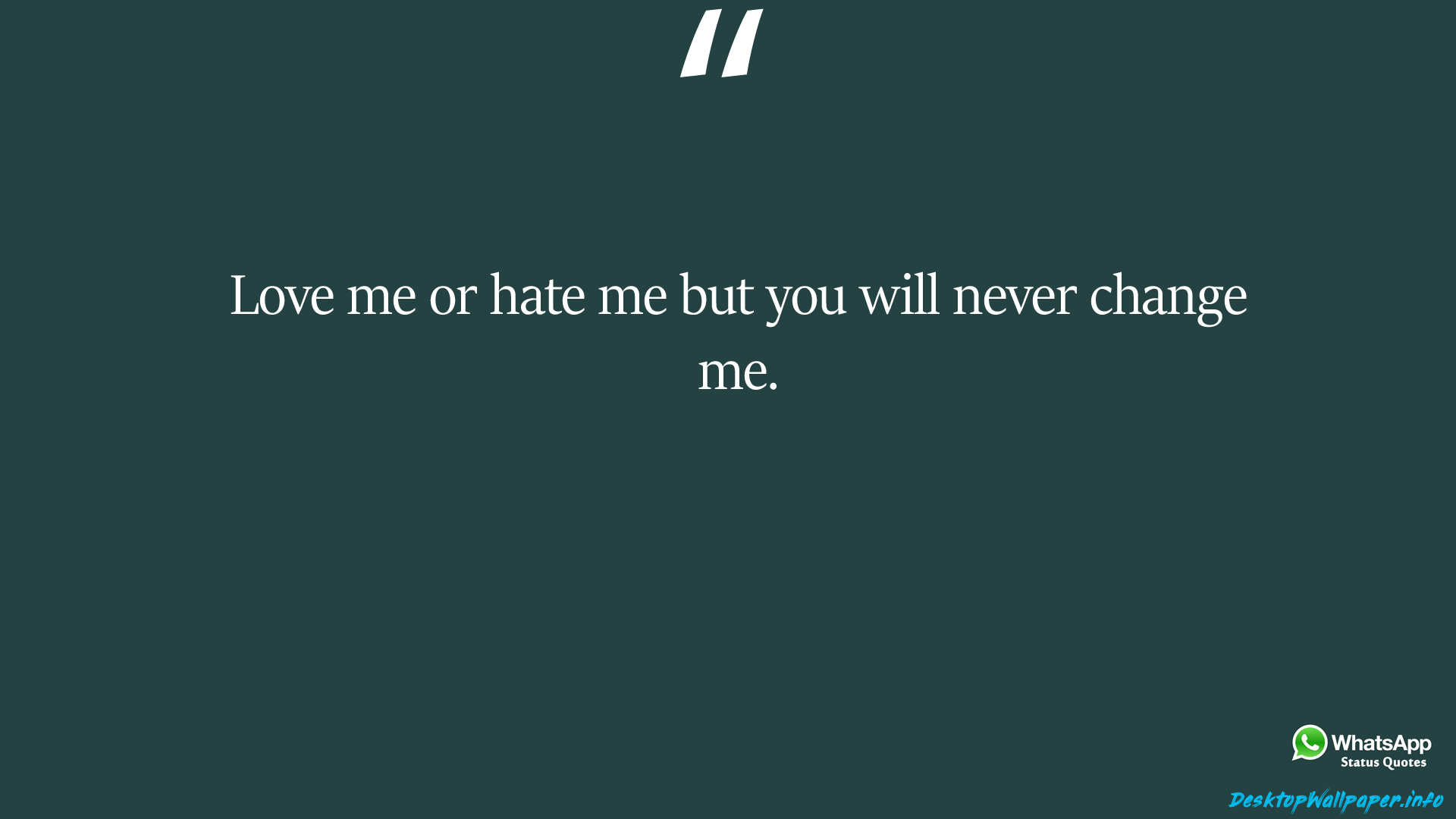 Love me or hate me but you will never change me