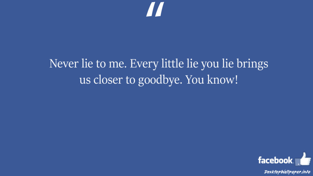 Never lie to me Every little lie you lie brings us facebook status