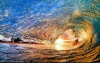 Sunset Surfing Waves Wallpaper
