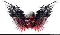 skulls with guns wallpaper